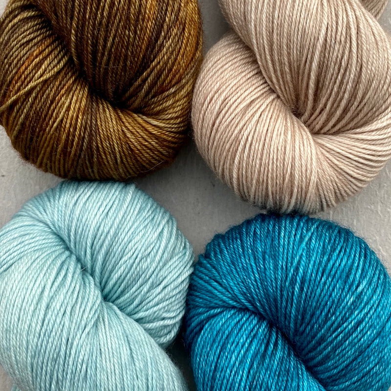 Quartet of Aussie Extra Fine Fingering in Cashmere Pearl, Gossamer Teal, Aegean & Oil Rubbed Bronze (Caspinka's MKAL, The Sharon Show, August 2020)