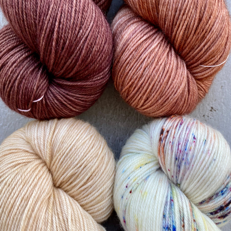 Quartet of Aussie Extra Fine Fingering in Peachy Tan, Fossil, Fawn, Milk Chocolate (Caspinka's MKAL, The Sharon Show, August 2020)
