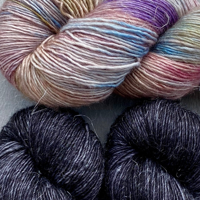 Misurina (Crop Tee) Yarn in Noir & The Language of Flowers, Merino Linen (fingering weight)