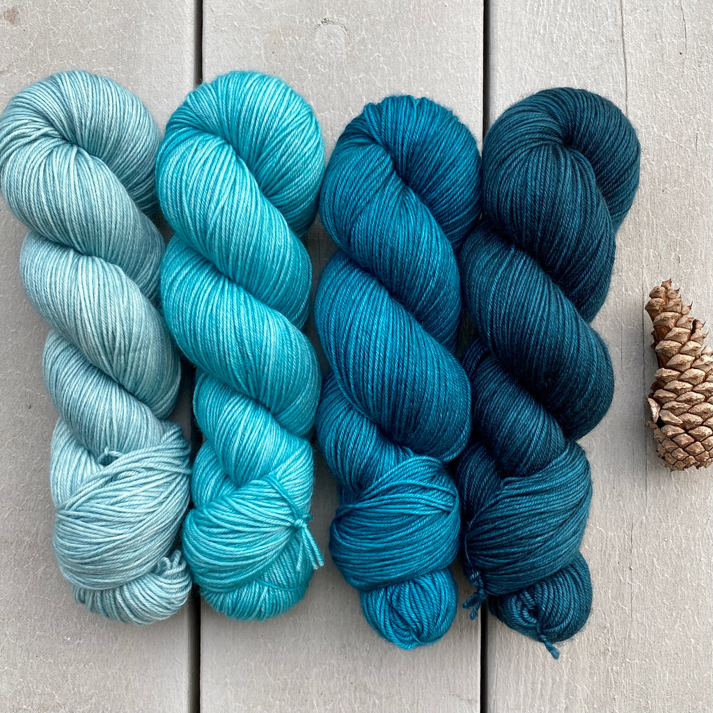 Teal Me About It Gradient Quartet in Aussie Extra Fine Fingering 4 ply