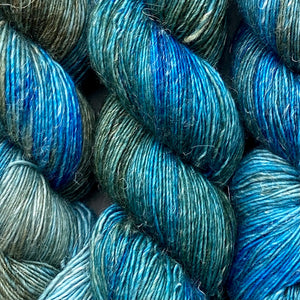 Nocturne: Blue and Gold, Merino Linen Fingering Weight