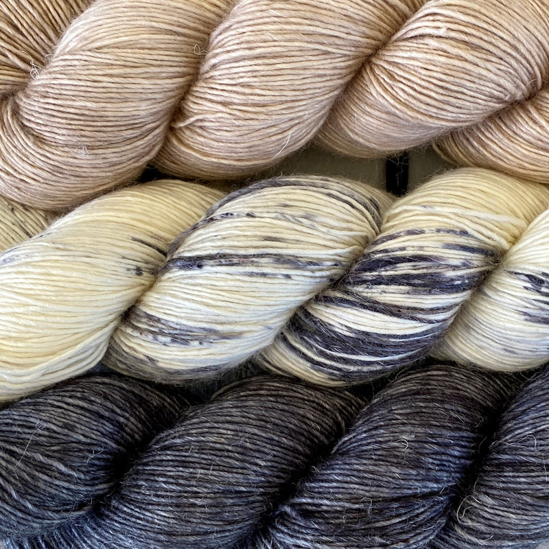 Trio of Merino Linen (fingering weight), Antibes Batik, Ash and Cashmere Pearl