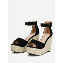 Load image into Gallery viewer, Ankle Strap Platform Woven Wedges - kats closet1