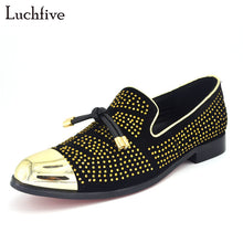 Load image into Gallery viewer, 2017 New fashion Rivets studded Men Pumps Gold Metallic Studded Loafers Casual Party Wedding black color Mens Shoes Zapatos - kats closet1