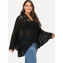 Load image into Gallery viewer, Lace Insert Dolman Sleeve See Through Top - kats closet1
