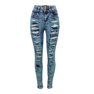 Women's Fashion Sexy High Waist Pencil Jeans Casual Blue Ripped Denim Pants Lady Long Skinny Slim Jeans Trousers - kats closet1