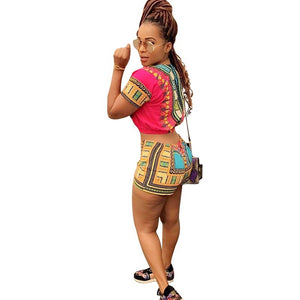 African Print Two Piece Shorts Playuit - kats closet1
