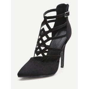Black Cutout Zipper Back Stiletto Heels - kats closet1