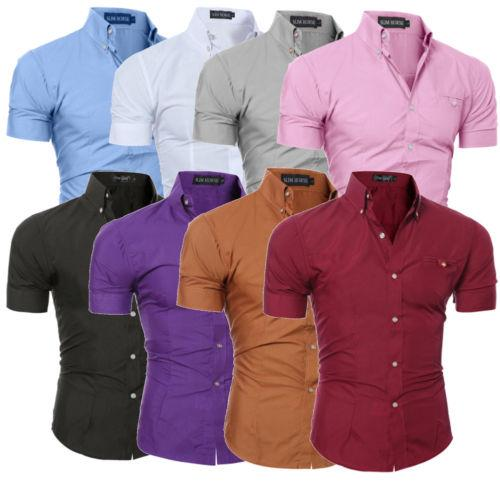 Slim Fit Short Sleeve Fashion Office Business Formal Shirt