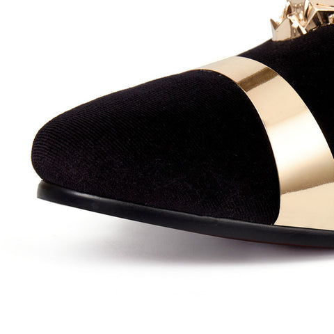 Harpelunde Gold Plate Men Dress Shoes Animal Buckle Flats Black Velvet  Loafers Free Drop Shipping Size c7cdc8f58400