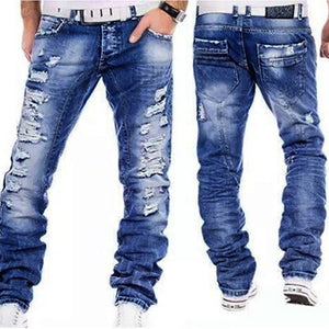 Ripped Straight Legs Denim Jeans - kats closet1