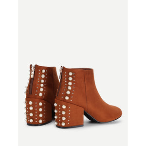 Studded & Faux Pearl Back Ankle Boots - kats closet1