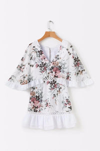 Chiffon V Neck Hollow Out Floral Print Summer Mini Dress Women Ruffle Batwing Sleeve Beach Casual Streetwear Short Dress U407 - kats closet1