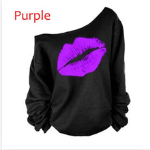 Load image into Gallery viewer, Off The Shoulder Pullover Loose Sweatshirts Lips Print - kats closet1