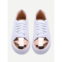 Load image into Gallery viewer, White Contrast Round Toe Rubber Sole Sneakers - kats closet1