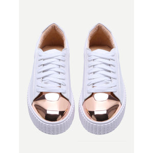 White Contrast Round Toe Rubber Sole Sneakers - kats closet1