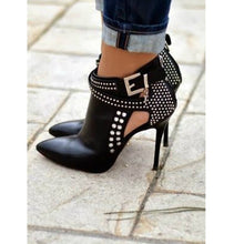 Load image into Gallery viewer, Thin High Hell Pointed Toe Leather Studded Punk Style Ankle Boots Strap Side Open - kats closet1