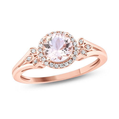 10K Rose Gold Round Morganite Floral Fashion Ring with 1/10 Carat White Diamond Halo - kats closet1