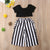 2 Piece Toddler Girls Short Sleeve Black T-Shirt And Striped Wide Leg Pants Set