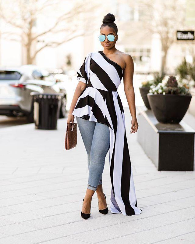 Best Quality 2018 New Style Tops Women Dress Striped One Shoulder