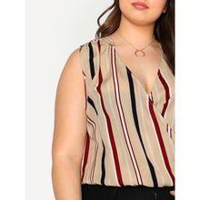 Load image into Gallery viewer, High Low Striped Sleeveless Overlap Blouse - kats closet1
