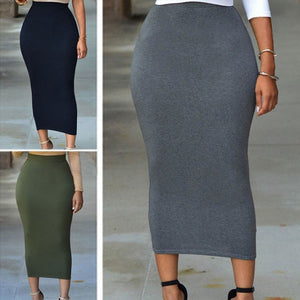 Women High Waist Bodycon Straight Stretch Pencil Midi Skirt Long Dress Skirt - kats closet1