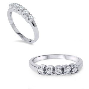 10k White Gold 1/2ct TDW 5-stone Diamond Wedding Ring - kats closet1