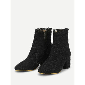 Side Zipper Tweed Ankle Boots - kats closet1