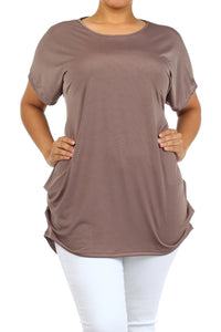 Plus Size Women's Trendy Style Short Sleeves Solid Tunic TopPlus Size Women's Trendy Style Short Sleeves Solid Tunic Top - kats closet1