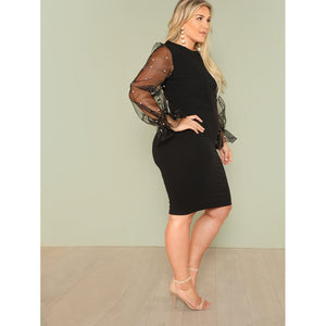 Pearl Beading Mesh Sleeve Pencil Dress - kats closet1