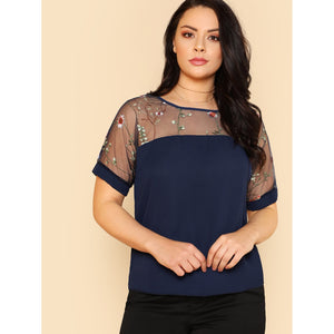Flower Embroidered Mesh Shoulder Top - kats closet1