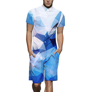 3D Blue White Gradient Lattice Print Short Sleeve Shirt And Shorts Set