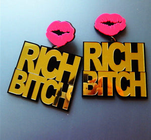 Trendy Hip Hop Pink Lips Letter Earrings