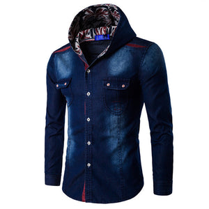 Casual Slim Fit Long Sleeve Shirts With Hat