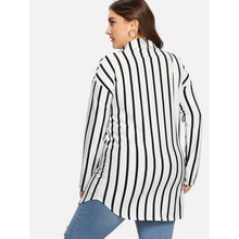 Load image into Gallery viewer, Drop Shoulder Striped Dolphin Hem Shirt - kats closet1