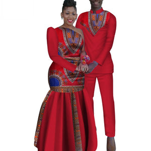 2 Piece African Dashiki Print Couple Men's Shirt and Pants Women/s Party Wedding Dress