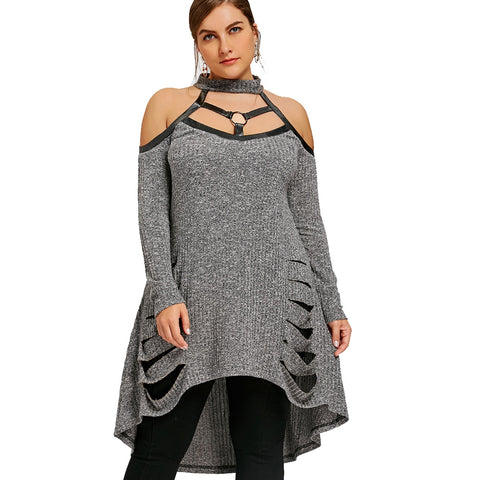 Plus Size Cold Shoulder Ripped Tunic Top