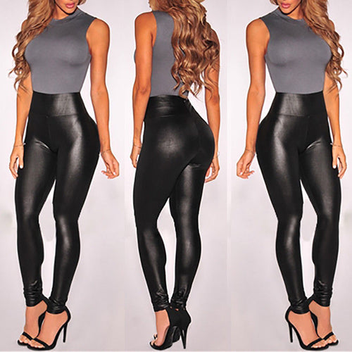 PU Leather Black High Waist Stretchy Slim Ankle-Length Leggings