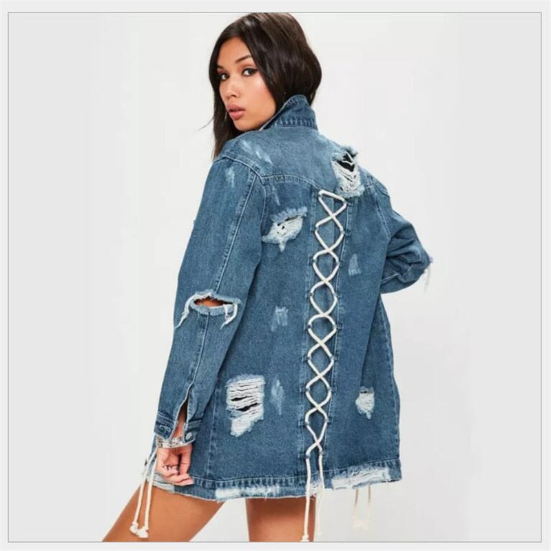 Boyfriend Style Long Sleeve Jean jacket - kats closet1