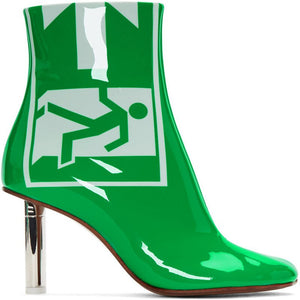 Leather Green Patent Leather Exit Safety Ankle Bootsr \With High-Heels