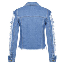 Load image into Gallery viewer, Long Sleeve Ladies Hole Denim Short Jacket
