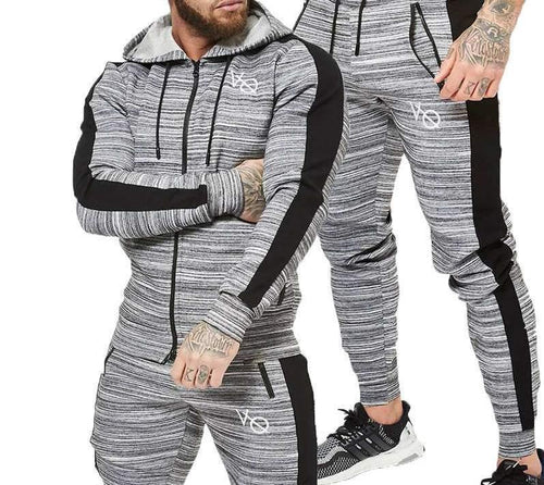 Men Long-Sleeve Two-piece Tracksuit - kats closet1