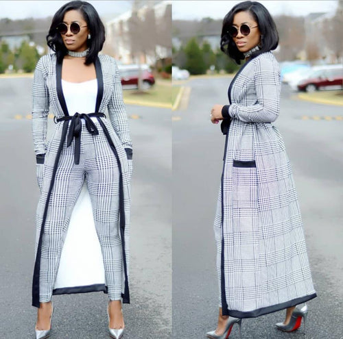 Three Piece Striped Wide Leg Pants With Long Coat And Top