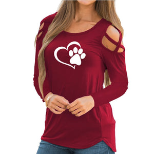 Dog Paw Print  Long Sleeve Cropped Off Shoulder Shirt