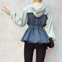 Loose Denim Hooded Sweatshirt