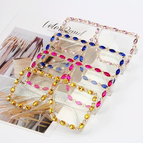 Oversize Rhinestone Yellow Pink Clear Lens Sunglasses