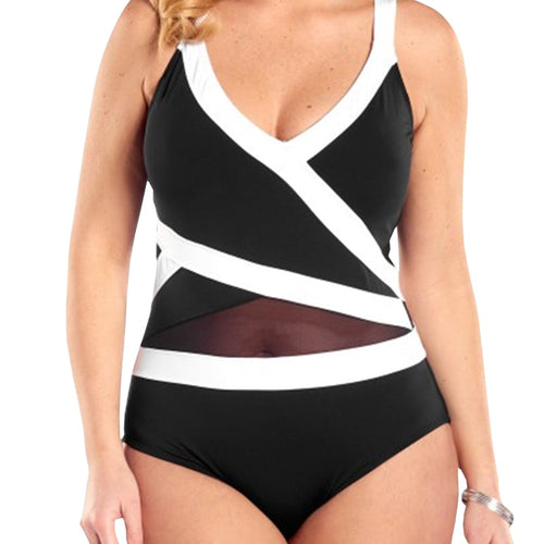 One Piece Plus Size Black And White Stitching Swimsuit - kats closet1
