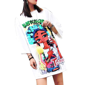 Cartoon Ladies Pattern Sequined Pullover Sweatshirts - kats closet1