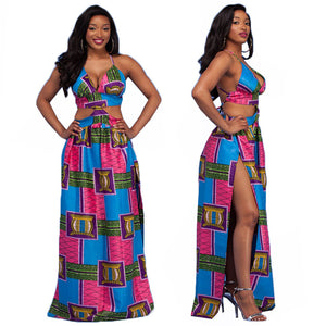 African Print Long Backless V High Split Dress