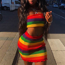 Load image into Gallery viewer, Rainbow Striped Two Piece Mini Skirt Set